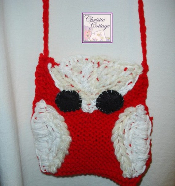 Owl Purse, Hand Knit Purse, Tote, Red