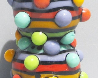 Rainbow Stripey Bubble Dot Balls--Handmade Lampwork Beads