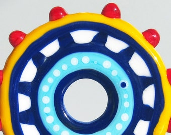 Fiesta Big Wheel--Handmade Lampwork Glass Bead Disc