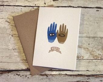 Gemini the Twins zodiac letterpress linocut blank card