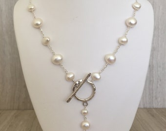White Pearls With Toggle Necklace N-20