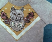 Cat print bamboo fleece sweatshirt ready to ship Supayana