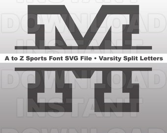 Varsity Split Letters Alphabet SVG,A to Z Sports Font SVG File,Cuttable Vector Design for Commercial & Personal Use-Cricut,Cameo,Silhouette