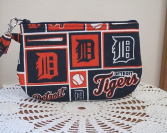 Clutch Zipper  Michigan Detroit Tigers Gadget Pouch Wristlet Smart Phone Bag Baseball