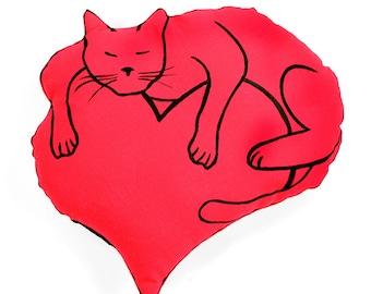 Cat lover gift, heart and cat shaped pillow, cat pillow, heart pillow, Valentines cat, decorative pillow