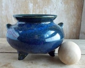 Cauldron In Bright Blue, Caldron, Cauldron, Pagan Ritual Altar Tool, Handmade Spell Casting, Witch Wicca, New Age, Ready to Ship