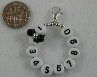 Black Onyx Removable 10 Row Counter Stitch Marker- Item No. 842