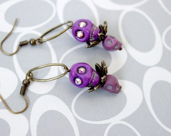 Double Violet Skull Earrings - Kaci Corax Collection