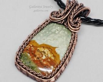 Rocky Butte Picture Jasper and Copper Necklace Pendant