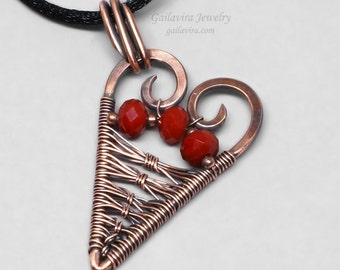 How to Mend a Broken Heart - Red Glass and Copper Heart Pendant Necklace