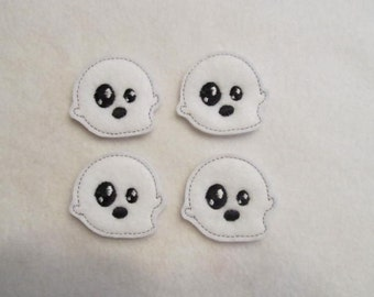 4 Felt SCARED GHOST Applique Embellishments Style GS