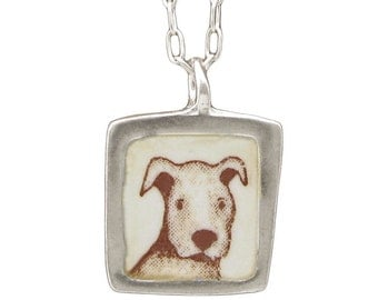 Pit Bull Necklace - Reversible Sterling Pitbull and Squirrel Necklace