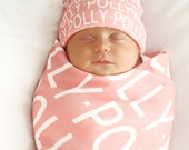 PERSONALIZED Baby Blanket hat Organic Interlock Knit knot hat name hipster swaddle newborn photo prop gift birth announcement monogram