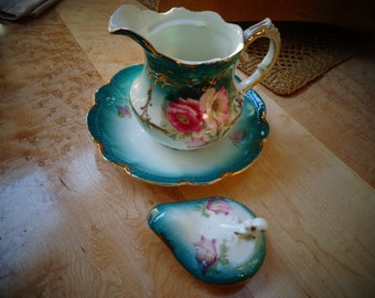 Geogeous Antique Collectible Floral Tea Pot Server Victorian/Coffee Server with lid and saucer made in Bavaria