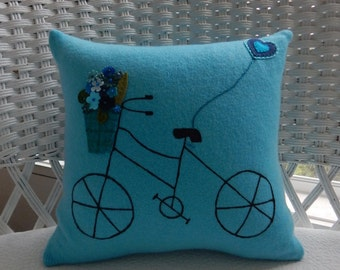 Recycled Cashmere Sweater Bicycle with Basket Pillow - Turquoise