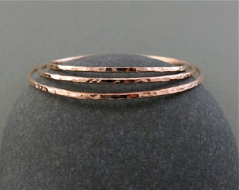 Thick 14K Rose Gold Filled Hammer Textured Stacking Bangle