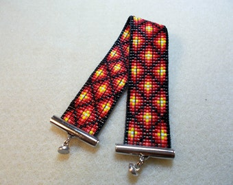 Black and red and yellow woven bracelet