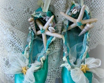 Teal Starfish Ballet Slippers, Seaside Wedding, Coastal Decor, Nautical, Seashells, Blue Ballet Shoes, Ocean Beach Decor, Mermaids