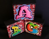 Custom Graffiti Letter Initial Brick Wall Canvas StreetArt Painting