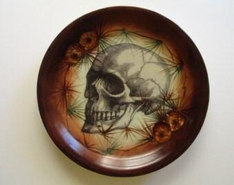 Victorian Adult Skull Illustration on Vintage Plate-Artist Altered Plate