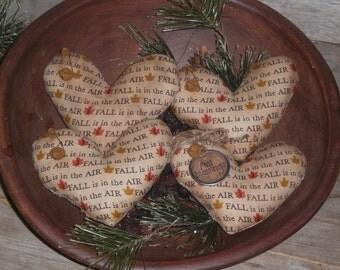 4 Primitive Fall Seasonal Halloween Fall is in the Air Heart Shaped Love Mini Pillow Ornies Bowl Fillers Ornaments Tucks Shelf Sitters