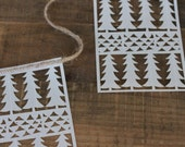 set of five holiday trees sail cloth flags