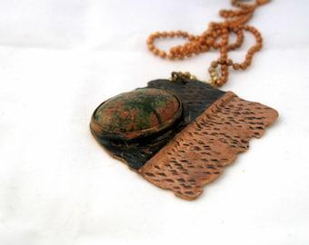 Unakite and Copper Pendant