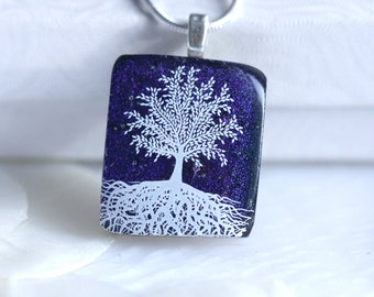 Glass Pendant Necklace Jewelry Tree of Life Dichroic Fused Glass 01180