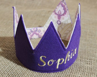 Personalized Fabric Crown, Purple and Gold Fabric and Felt Crown with Velcro Closure