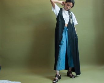 black maxi vest dress / long duster vest / sleeveless dress / m / 1874d