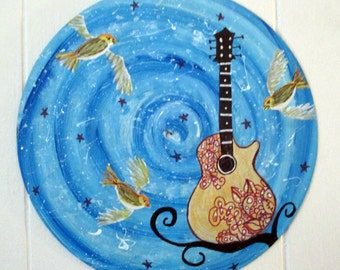 Vinyl record art - Guitar with Yellow Birds original painting - acrylic, LP, Recycled wall art, music lover gift,