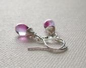 Raspberry Pink Ripple Petite Teardrop Briolette Drop Wire Wrapped Earrings Contemporary Stylish Gift Idea Wedding Fashion Jewellry UK Seller