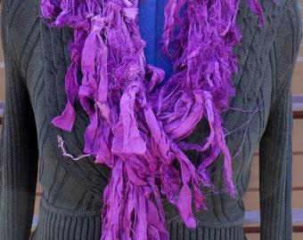 Purple Sari Silk Hand Knitted Scarf Fair Trade OOAK