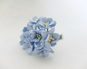 10 20mm blue paper cherry blossoms - 2 cm blue paper flowers with wire stems