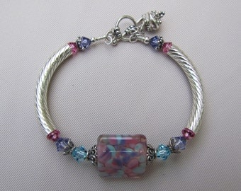 Garden Gate Lampwork Bangle Bracelet