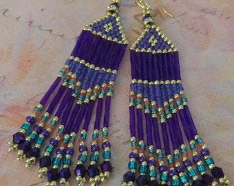 Seed Bead Long Purple Royale Fringe Earrings Wedding Prom Holiday Beadwork Jewelry Special Occasion Chandelier Earrings