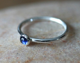 Blue Sapphire Stacking Ring, Sterling Silver Gemstone Ring, Size 2 to 15, Stacker Ring, September Birthstone, Solitaire Ring, Womens Ring
