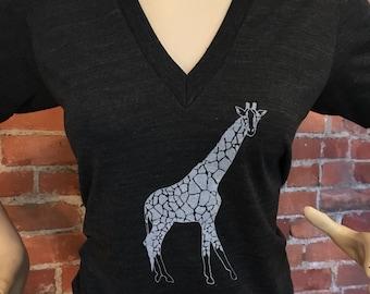 Giraffe Tee Deep V Neck Charcoal Gray XS,S,M,L,XL