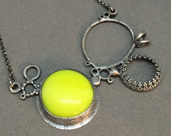 neon yellow necklace pendant everyday statement necklace metalsmith contemporary modern jewelry art jewelry necklace