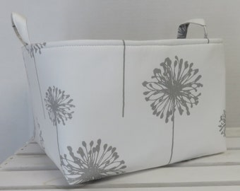 Gray Dandelions on White Fabric - Large Diaper Caddy Storage Container Basket Organizer Bin - Nursery Decor - 1 Divider