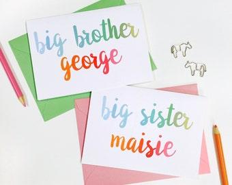 New Baby Sibling Card. Personalised New Baby Card. Big Brother Card. Big Sister Card. Baby Keepsake Card.