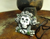 Halloween Dios de la meurte Day of The Dead Black Green Ceramic Pendant Necklace Jewelry  Sugar skull