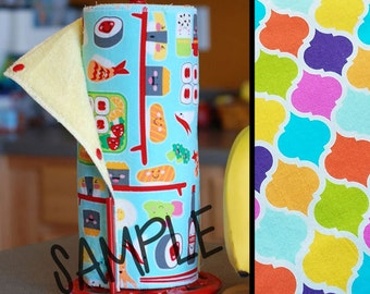 Tree Saver Towels - Primary Quatrefoil - Reusable, Eco-Friendly, Snapping Unpaper Towel Set - Cotton and Terry Cloth