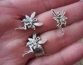 25 Mini Fairy Nimphs DIY Charms Pendants jewelry making Supplies Silver-tone