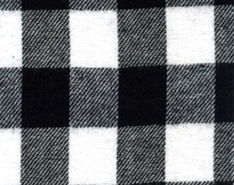 Buffalo Check Plaid - Black and White - Cotton Flannel Fabric - One Yard