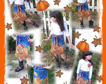 DIY Patchwork Applique Upcycled Refashioned JEAN SKIRT eBook pattern