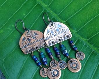 Tribal Stamped Copper Gypsy Dangle Earrings