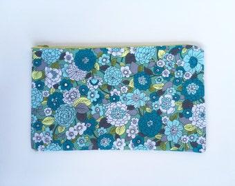 Floral zip pouch
