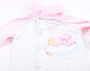 Care Bears Vintage Newborn 0-6 Mo Pajamas 1980s Total Nostalgia  ~ The Pink Room ~ 161105