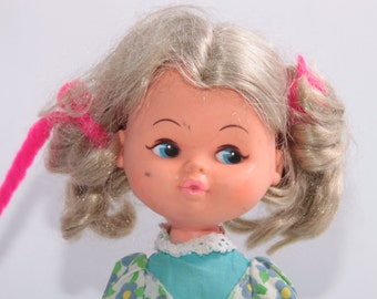 Vintage 1960s Blonde Doll with Pigtails Wearing Blue Dress
